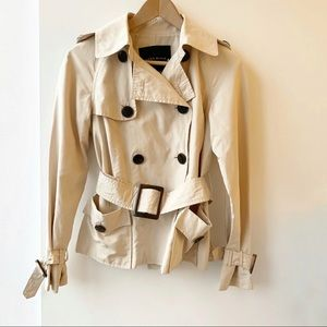 Cropped belted short trench coat jacket